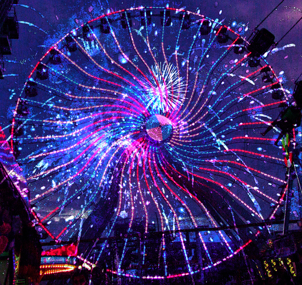 ferris wheel with LED lights system at night